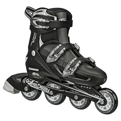 """Roller Derby V-Tech 500 Adjustable Kids'"""" Inline Skates - Black/White (6-9)"""