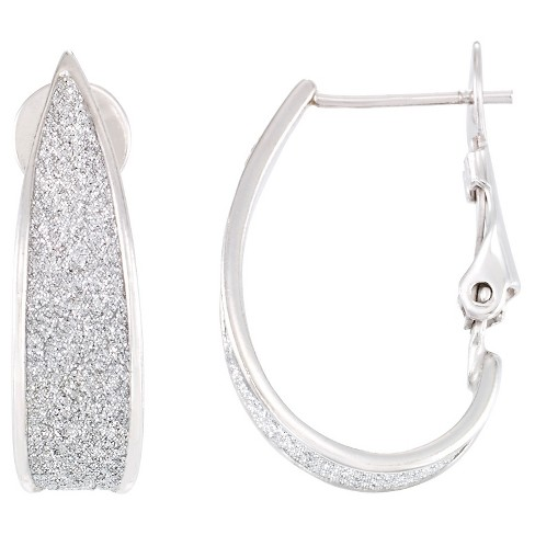 Platinum over Silver Glitter Graduated Oval Hoops-Platinum - image 1 of 1