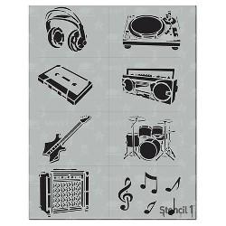 "Stencil1 Music Multipack 8ct - Stencil 8.5"" x 11"""