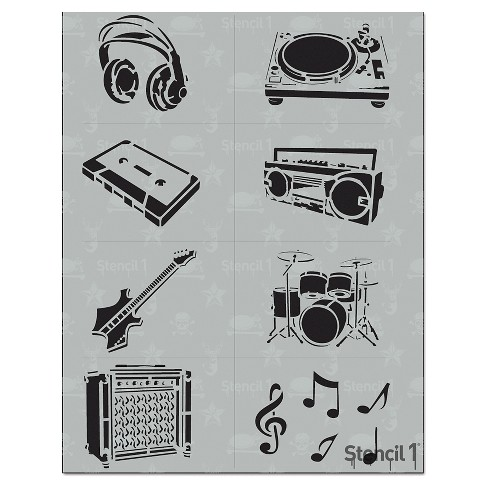"Stencil1 Music Multipack 8ct - Stencil 8.5"" x 11"" - image 1 of 3"