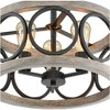 """Franklin Iron Works Rustic Farmhouse Ceiling Light Semi Flush Mount Fixture Black Gray Wood 16"""" Wide Edison Bulb for Living Room - image 3 of 4"""