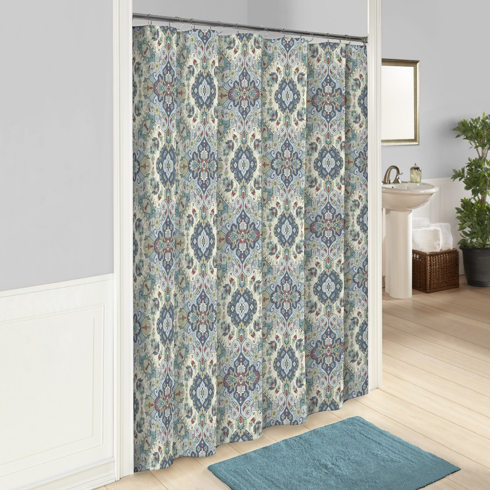 Image of Ahana Printed Shower Curtain Teal - Marble Hill, Blue