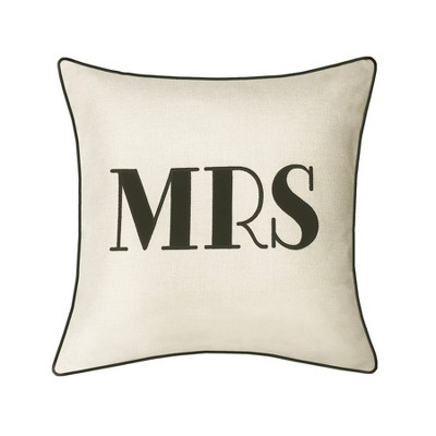 Mrs  Pillow Embroidered, Poly-Linen Square Throw Pillow Cream - Edie@Home