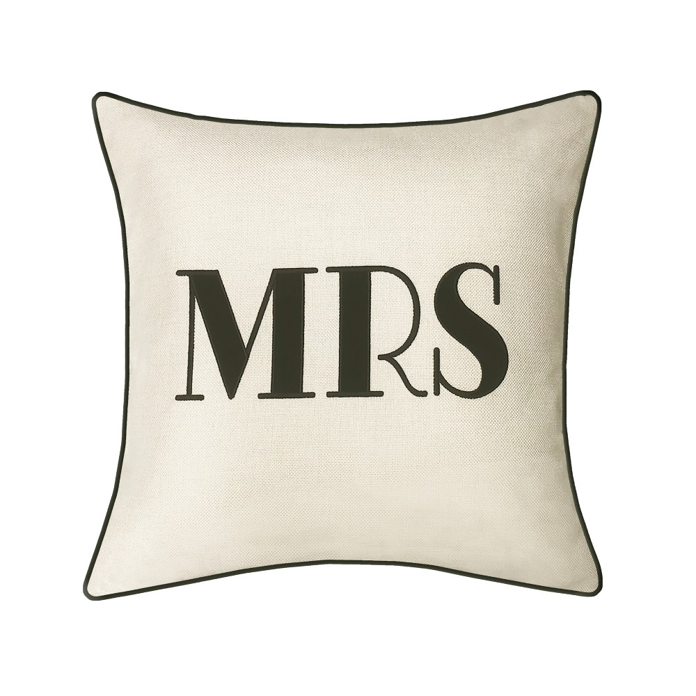 Image of 'Mrs' Pillow Embroidered, Poly-Linen Square Throw Pillow Cream - Edie@Home