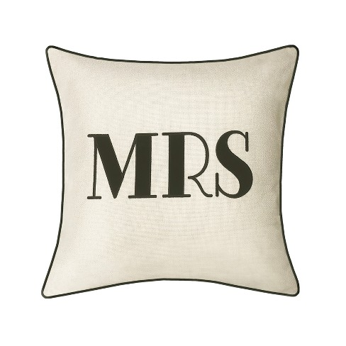 """""""Mrs"""" Pillow Embroidered, Poly-Linen Square Throw Pillow Cream - Edie@Home - image 1 of 1"""