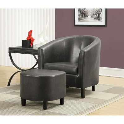 Genial Faux Leather Accent Chair And Ottoman   Charcoal Gray   EveryRoom : Target