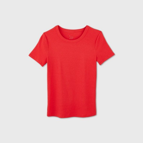 Women's Slim Fit Short Sleeve Rib T-Shirt - A New Day™ - image 1 of 4
