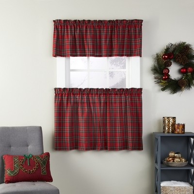 SKL Home Fireside Plaid Traditional Bold Red Plaid Window Tier Curtains, Red