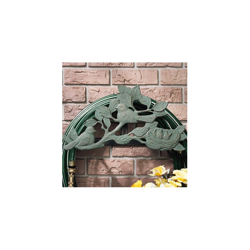 Image of Chickadee Hose Holder - Copper Verdigris - Whitehall Products, Gray