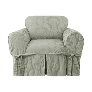 Matelasse Damask Chair Sage - Sure Fit, Green