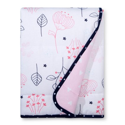 Jersey Knit Reversible Blanket Navy & Pink - Cloud Island™ - Pink