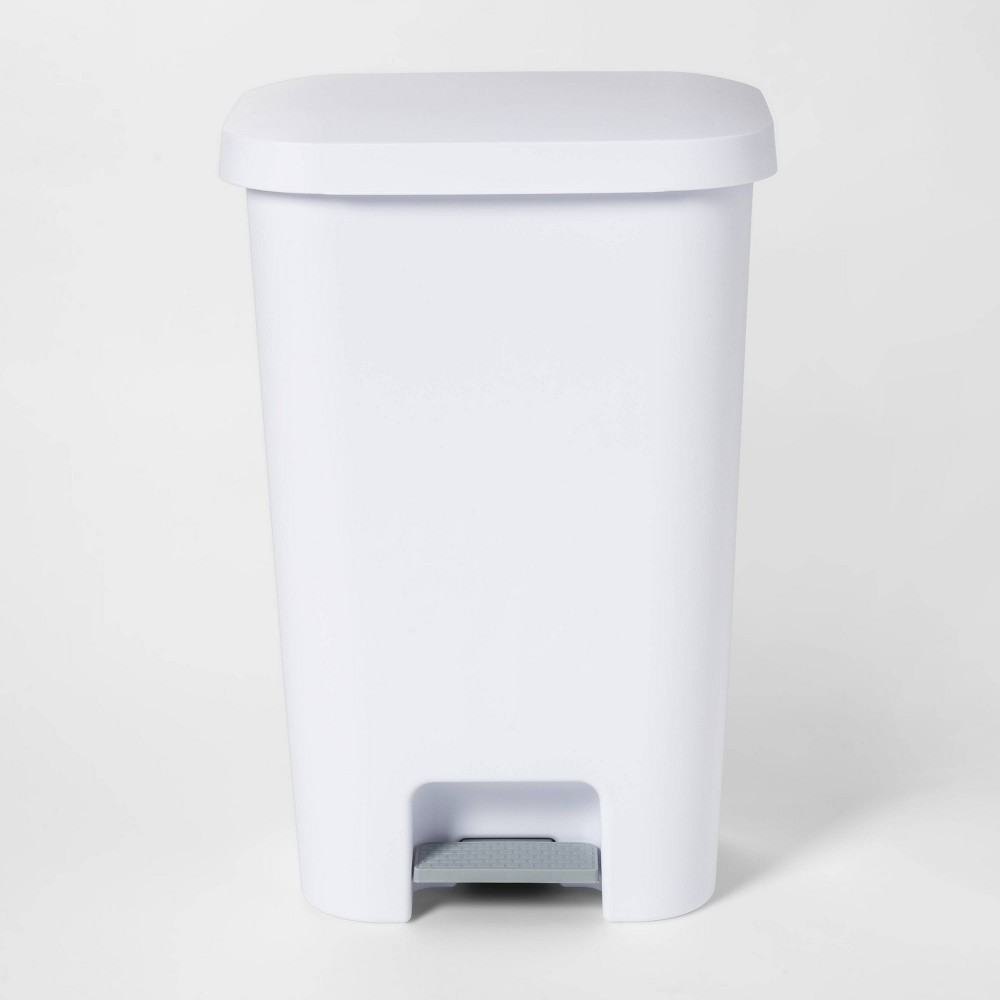 Image of 11.9gal Step-On Waste Basket White - Room Essentials