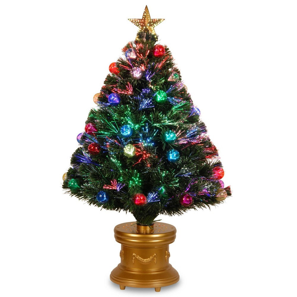 Image of 3ft LED Fiber Optic Fireworks Tree with Ball Ornaments - National Tree Company, Green