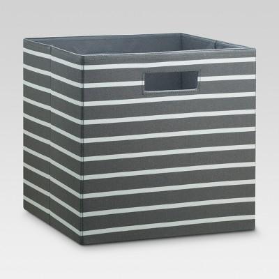 "13"" Fabric Cube Storage Bin Gray White Stripe - Threshold™"