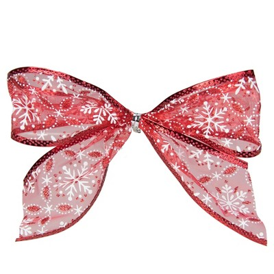 """Northlight Pack of 6 Sheer Red and White Snowflakes Christmas Bow Decorations 5"""""""