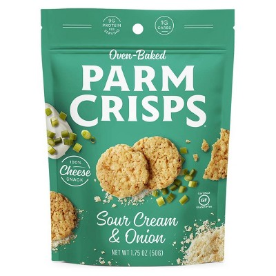 ParmCrisps Oven Baked Gluten Free Sour Cream & Onion 100% Cheese Crackers - 1.75oz