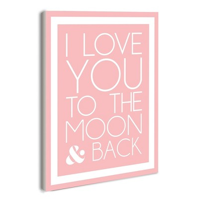 I Love You To The Moon And Back On Pink With White Border Wall Plaque Art (10 x15 x0.5 )- Stupell Industries