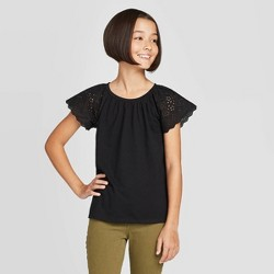 Girls' Short Sleeve Eyelet T-Shirt - Cat & Jack™