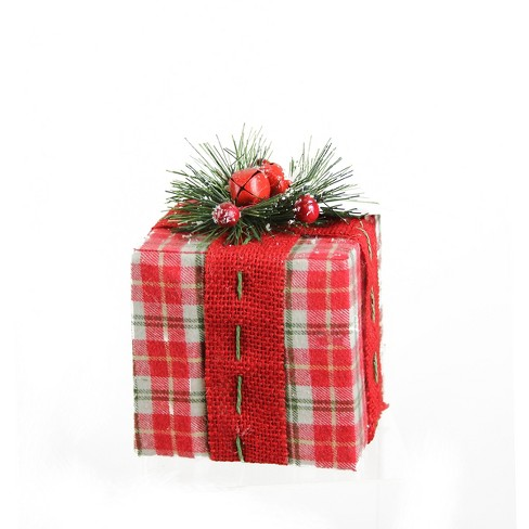 """Northlight 5.75"""" Red, White and Green Plaid Gift Box with Red Ribbon Christmas Decoration - image 1 of 1"""