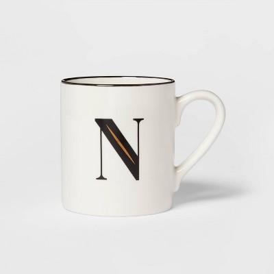 16oz Stoneware Monogram N Mug White - Threshold™