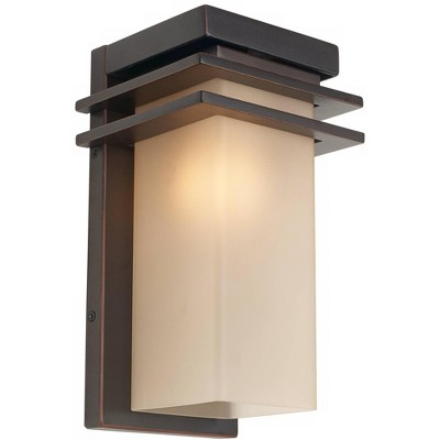 """Franklin Iron Works Modern Mission Outdoor Wall Light Fixture Oil Rubbed Bronze 12"""" Opal Etched Amber Glass House Porch Patio Deck"""
