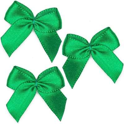 "350pcs Mini Satin Ribbon Bow Flowers with Self-Adhesive Tape for DIY Crafts, Sewing, Scrapbooking and Gift (Green, 1.5"")"
