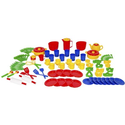 Dantoy Cooking Set for Kids, 8 Place Settings, Assorted Colors, 100 pc