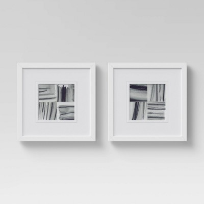 """(Set of 2)12"""" x 12"""" Framed Brushed Strokes Wall Art Gray - Project 62™"""