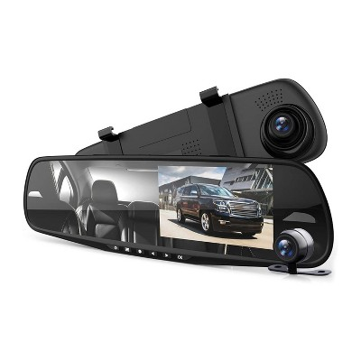 Pyle PLCMDVR49 4.3 Inch Display Dash Cam Dual Camera Vehicle Recording System Rearview Mirror with Waterproof Backup Cam Kit, Black