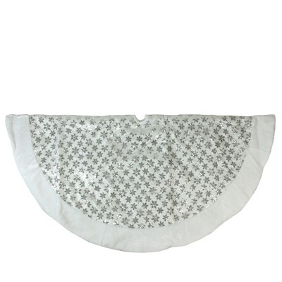 """Northlight 60"""" White and Silver Sequin Snowflake Christmas Tree Skirt with Faux Fur Border"""