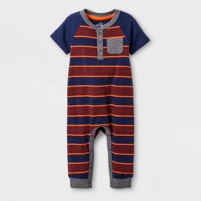 Baby Boys' Stripe Short Sleeve Romper - Cat & Jack™ Navy 12M