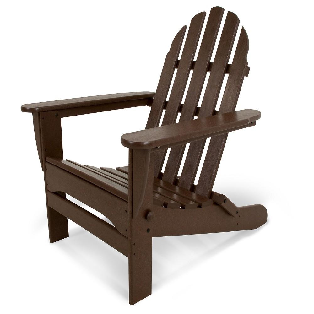 Image of POLYWOOD Classic Folding Patio Adirondack Chair - Dark Brown, Dk Brown