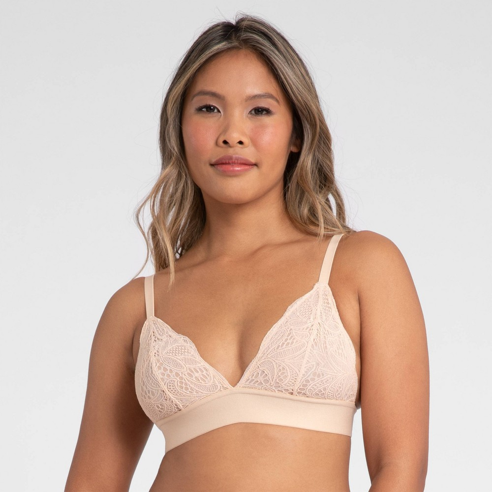 All You Lively Women 39 S Long Lined Lace Bralette Toasted Almond M