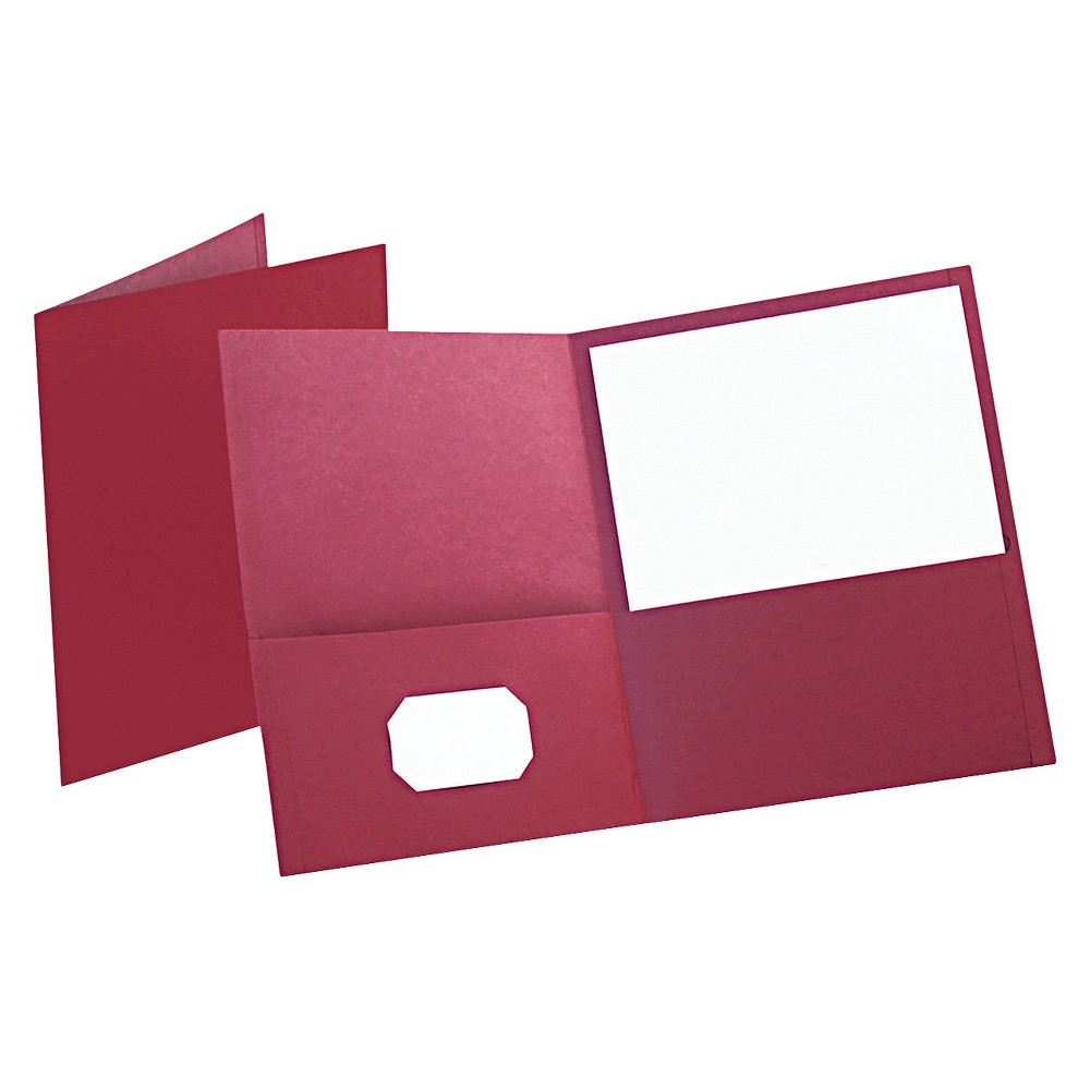 Image of Oxford 2 Pocket Plastic Folder Portfolio with Embossed Leather Grain Paper - Burgundy (Box of 25)
