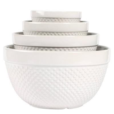 4pc Stoneware Hobnail Nesting Mixing Bowl Set - Tabletops Gallery