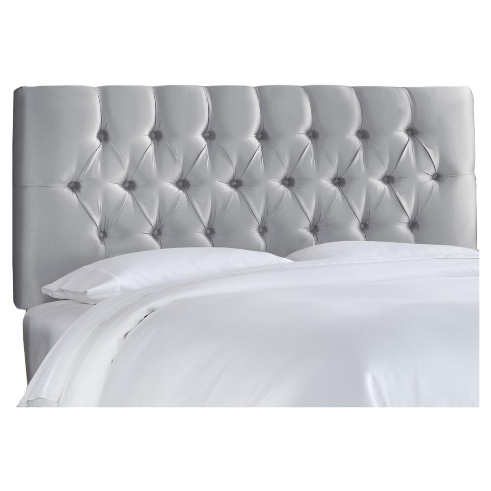 King Edwardian Tufted Headboard Faux Silk Shantung Silver - Skyline Furniture
