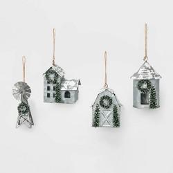4ct Galvanized Farm Christmas Ornament Set - Wondershop™