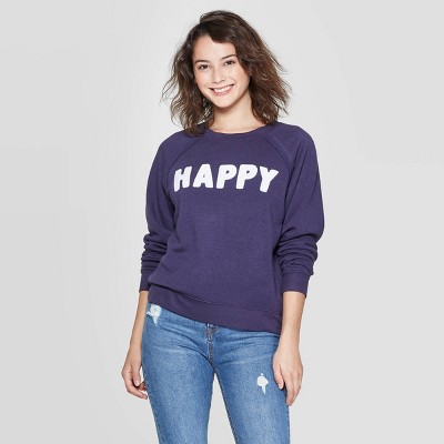 Women's Happy Long Sleeve Sweatshirt   Grayson Threads (Juniors')   Navy by Grayson Threads