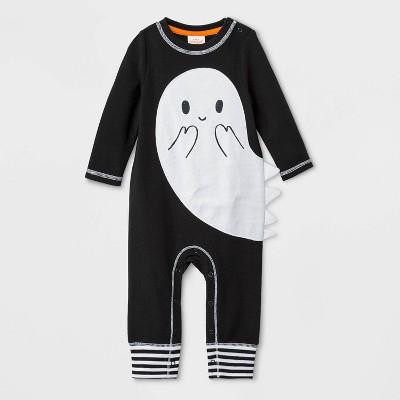 Baby Boys' Long Sleeve Halloween Ghost Romper - Cat & Jack™ Black 0-3M