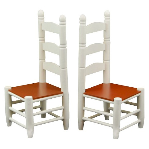 The Queen\'s Treasures 18 Inch Doll Furniture, Off White Wooden Farmhouse  Kitchen Chairs, Set of Two