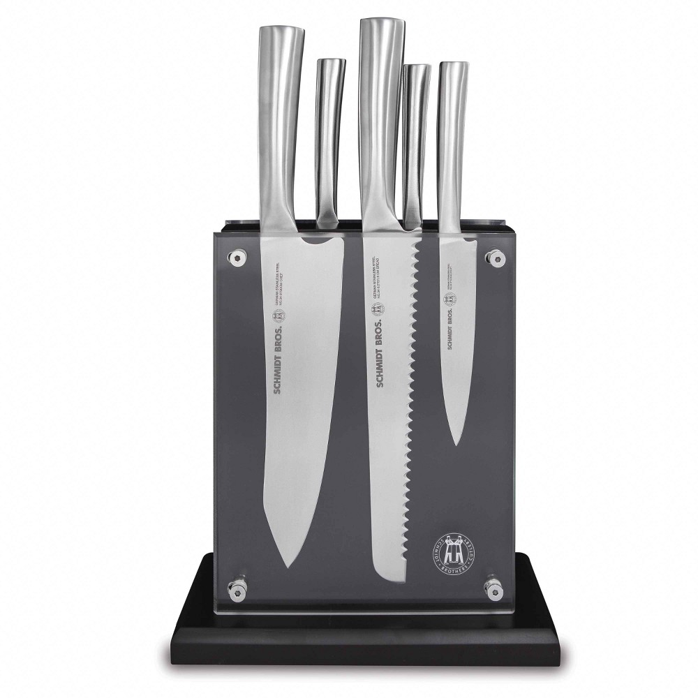 Image of Schmidt Brothers Cutlery 6pc Stainless Steel Knife Block Set, Silver
