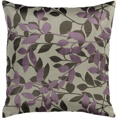 """Surya 18"""" Square Early Morning Foliage Indoor Throw Pillow - Gray/Purple - image 1 of 1"""