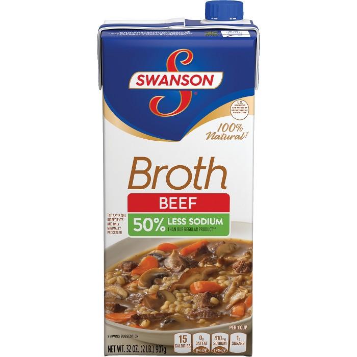 Swanson® Beef Broth 50% Less Sodium 32oz - image 1 of 5