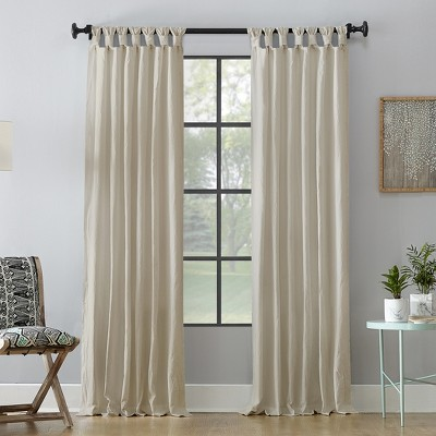 """84""""x52"""" Washed Cotton Twist Tab Light Filtering Curtain Panel Cream - Archaeo"""