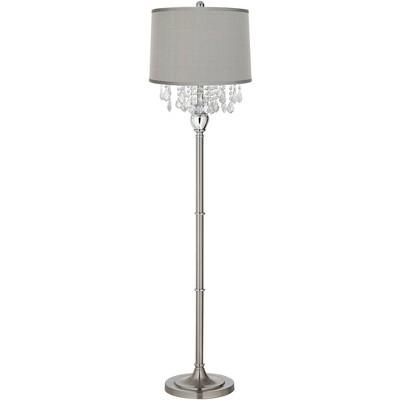 360 Lighting Modern Floor Lamp Satin Steel Chrome Crystal Chandelier Platinum Gray Silk Drum Shade for Living Room Reading Bedroom