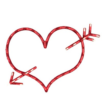 """Northlight 17"""" Lighted Red Heart with Arrow Valentine's Day Window Silhouette Decoration"""
