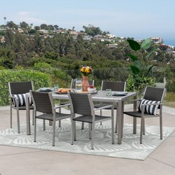 Cape Coral 7pc Aluminum & Wicker Wood Outdoor Patio Dining Set - Silver/Gray - Christopher Knight Home