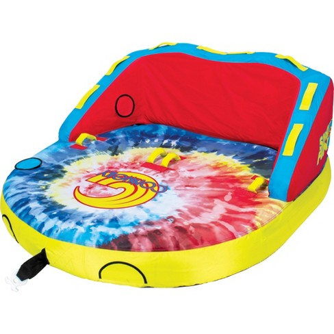 CWB Connelly Super Fun 2 Person 2 Way 66x66 Inch Hybrid Inflatable Pull Behind Boat Towable Water Inner Tubing Tube, Tie Dye - image 1 of 3