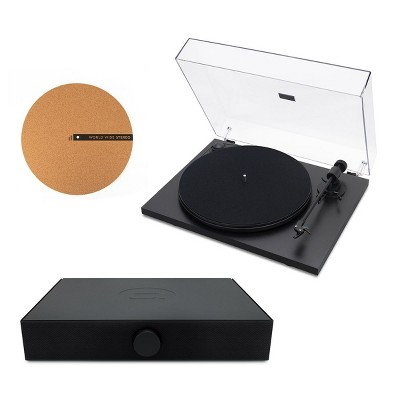 """Andover Audio Spindeck Plug-and-Play Turntable with Speaker System and 12"""" Cork Turntable Slipmat"""