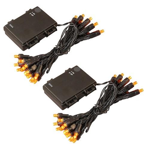 8' 2ct Battery Operated Mini String LED Lights Orange - image 1 of 2